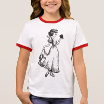 Snow White   Holding Apple - Elegant Sketch Ringer T-Shirt