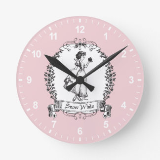 Snow White | Holding Apple - Elegant Sketch Round Clock