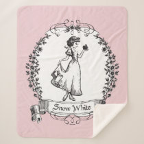 Snow White | Holding Apple - Elegant Sketch Sherpa Blanket
