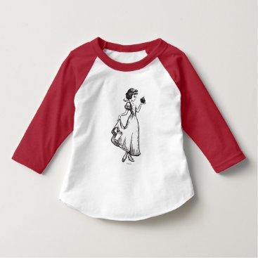 Disney Themed Snow White | Holding Apple - Elegant Sketch T-Shirt