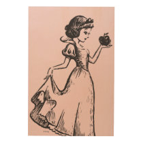 Snow White | Holding Apple - Elegant Sketch Wood Wall Art