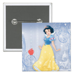 Square Button with Princess Snow White with Poisened Apple design