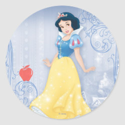 Round Sticker with Princess Snow White with Poisened Apple design