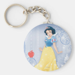 Basic Button Keychain with Princess Snow White with Poisened Apple design