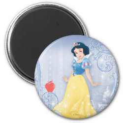 Round Magnet with Princess Snow White with Poisened Apple design