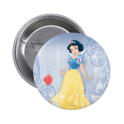 Round Button with Princess Snow White with Poisened Apple design