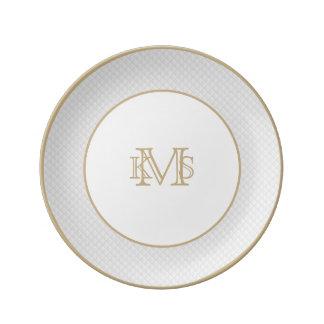 Snow White Quilt Pattern Porcelain Plates