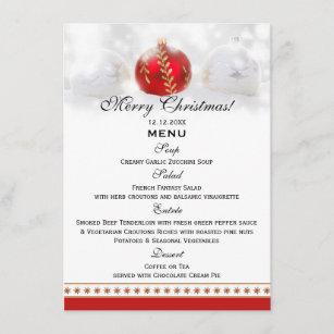 snow white red christmas dinner menu template card - Christmas Menu Template