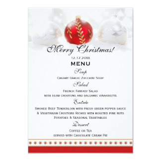 Snow White Red Christmas Dinner Menu Template Card