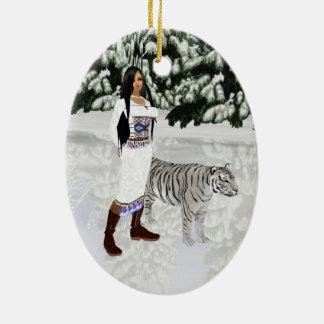 Snow White Tiger Oval Ornament