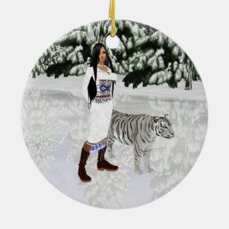 Snow White Tiger Round Ornament