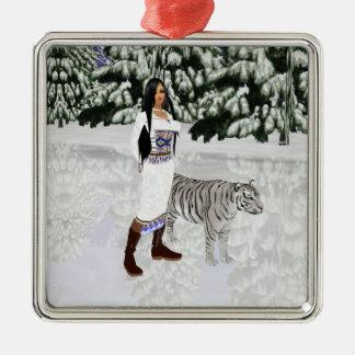 Snow White Tiger Square Ornament