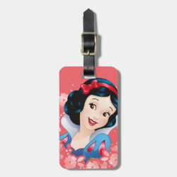 Small Luggage Tag with leather strap with Cute Cartoon Young Cinderella design
