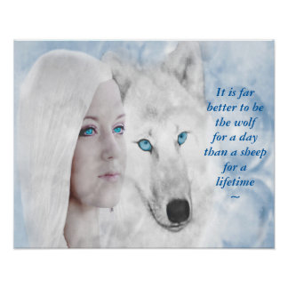 Snow White Wolf Lady Blue Eyes Poster