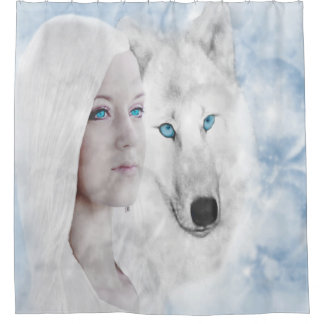 Snow White Wolf Lady Blue Eyes Shower Curtain