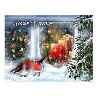 Snow Window Scene. Customizable Christmas Cards Postcard
