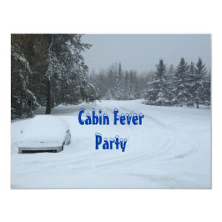 Snow Winter Cabin Fever Party Invitations Custom