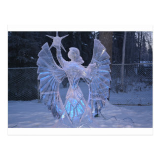 Snow Winter Sculpture  angel  Christianity Faith Postcard
