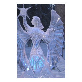 Snow Winter Sculpture  angel  Christianity Faith Personalized Stationery