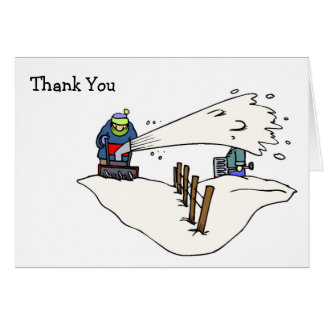 Snow Winter Snowblower Thank You Card