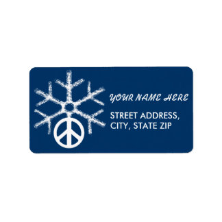 Snow with peace address label
