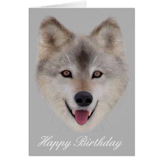 Snow Wolf Birthday Card