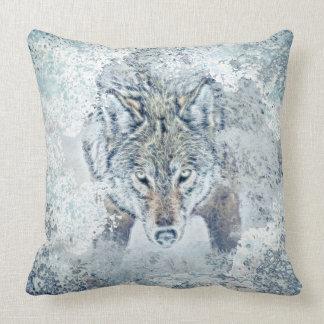 """Snow Wolf Pillow Cotton Throw Pillow 20"""" x 20"""""""
