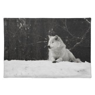 Snow Wolf Cloth Place Mat