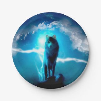 Snow wolf - thunder wolves - wild wolf paper plate