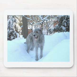 Snow wolfhound mouse pad