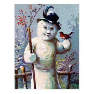 Snow Woman and Bird in Winter Garden Postcard