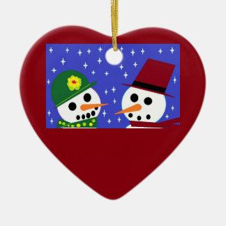 SNOW WOMAN SNOW MAN SNOW PEOPLE HEART ORNAMENT