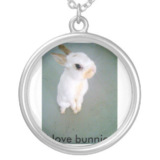 snowball4, i love bunnies round pendant necklace