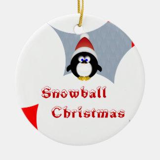 Snowball Christmas Ceramic Ornament