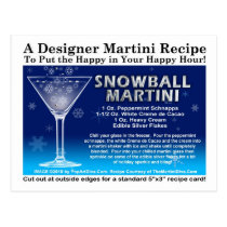 Snowball Christmas Martini Recipe Postcard