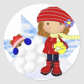 Snowball Diva Round Sticker