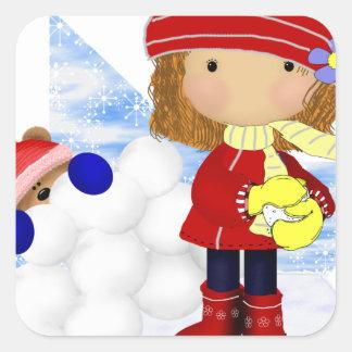 Snowball Diva Square Stickers