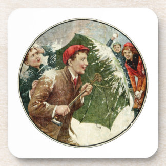 Snowball Fight Beverage Coaster