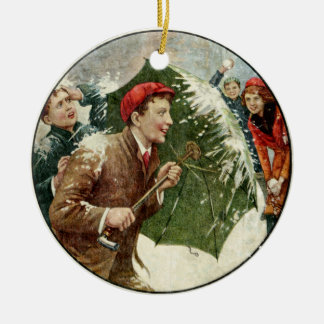 Snowball Fight Ceramic Ornament