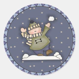 Snowball Fight Classic Round Sticker