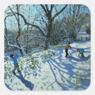 Snowball fight Derbyshire Square Sticker
