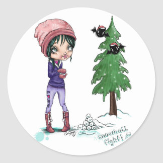 Snowball Fight Holiday Sticker Round, Glossy