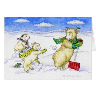 Snowball Fight Season's Greetings Greeting Card