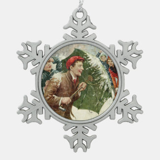 Snowball Fight Snowflake Pewter Christmas Ornament