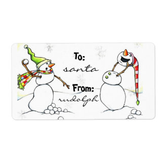 Snowball fight snowmen gift-tags label
