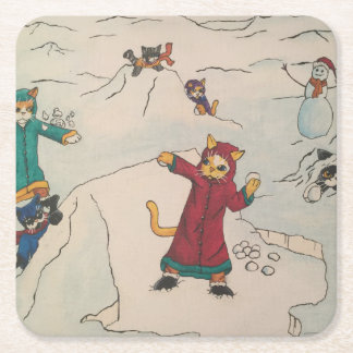 Snowball Fight Square Paper Coaster