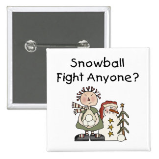Snowball Fight Tshirts and Gifts 2 Inch Square Button