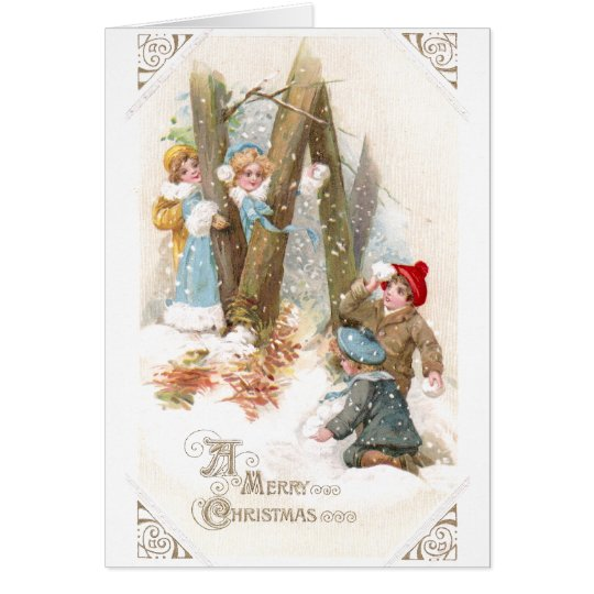 Snowball Fight Vintage Christmas Card
