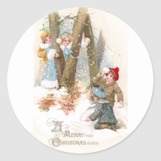 Snowball Fight Vintage Christmas Classic Round Sticker