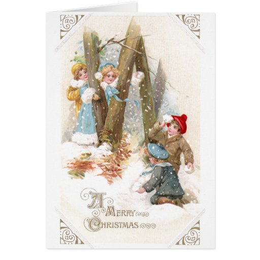 Snowball Fight Vintage Christmas Greeting Card
